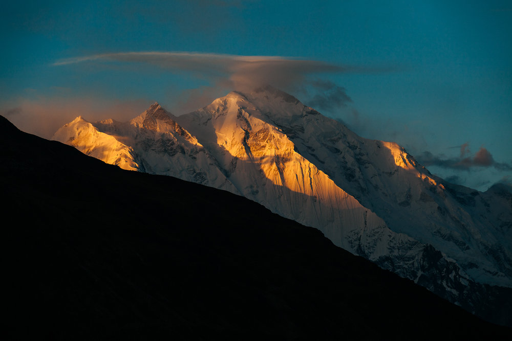 """Rakaposhi,7 788m.Rakaposhi means """"Snow Covered"""" in the local language. Rakaposhi is also known as Dumani (""""Mother of Mist"""" or """"Mother of Clouds""""). It is ranked  27th highest in the world and  12th highest in Pakistan."""
