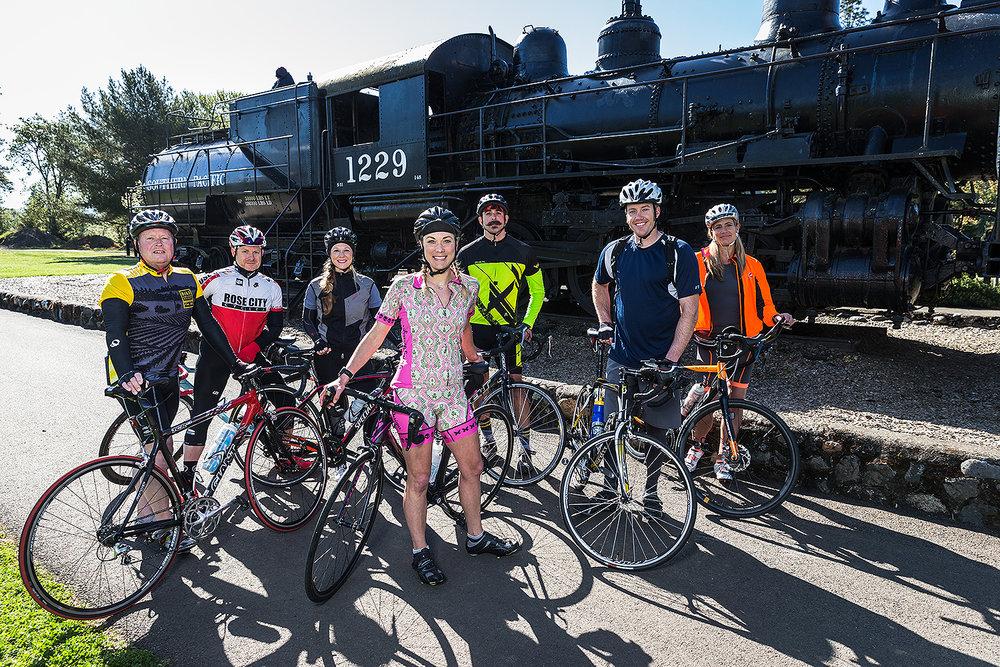 Along for the ride (L-R) Kelly Leonard, Paul Whitworth, Hannah Johnson, Jenny Wood, Cimeron Kormendi, Russ Jones, Melody Cobb.