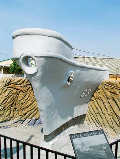 He did much of the work on the Oregon Veterans Memorial Wall on Walnut Street, including the battleship water feature.