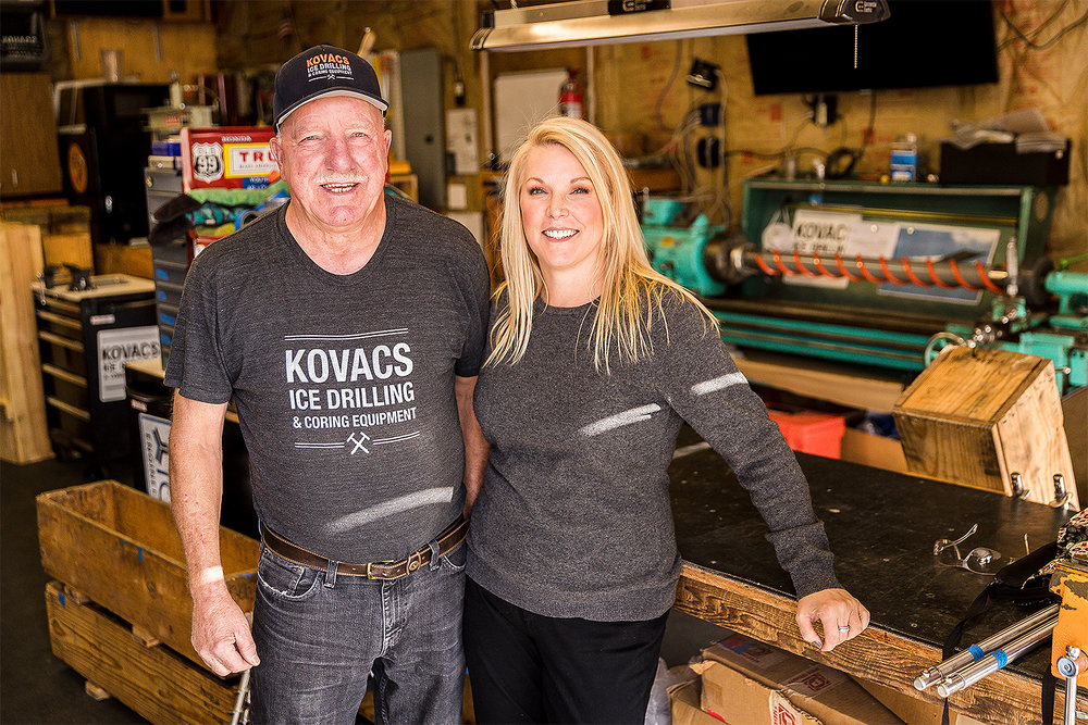 Kovacs Drilling owner Donna Keib with Fred Burson, her father and top assistant. Above photos by Thomas Boyd.