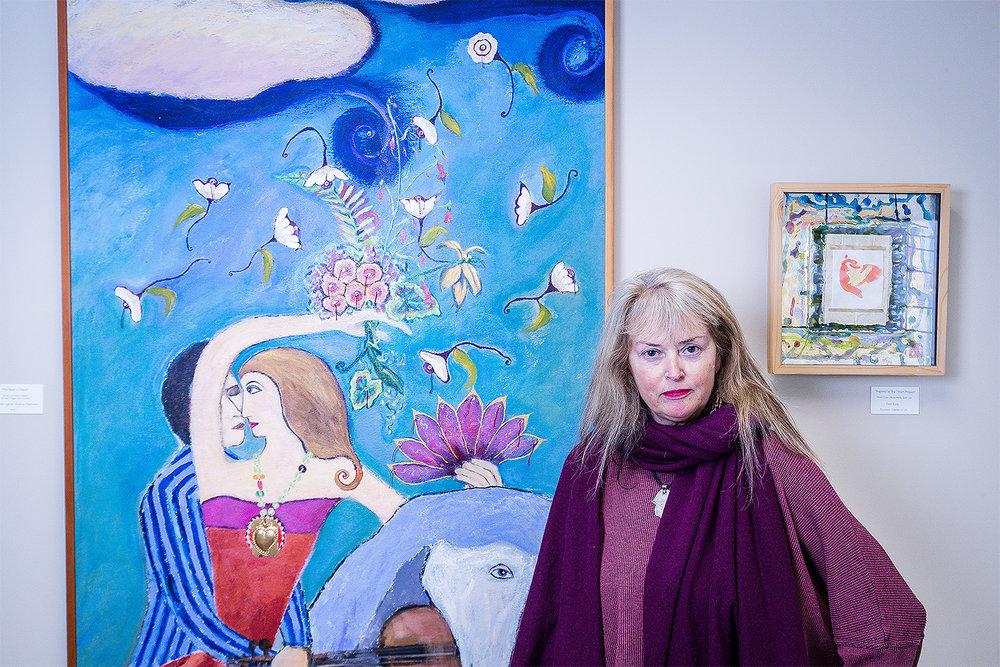 Art as Healing coordinator and artist Janice Matthews with her own creation.