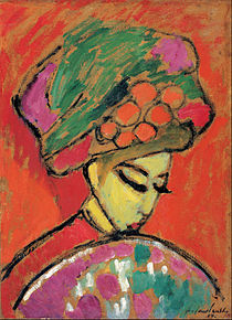 Young Girl In A Flowered Hat by Alexei Jawlensky
