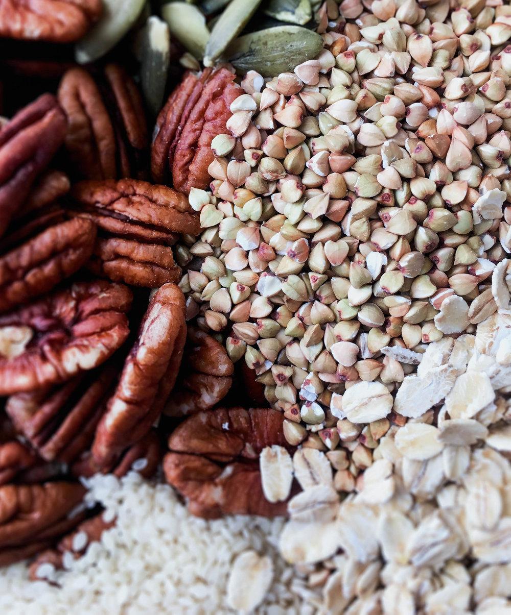 vegan gluten free granola ingredients, food photography, buckwheat