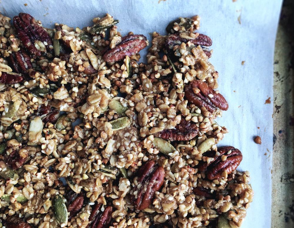 vegan gluten free buttery maple tahini granola