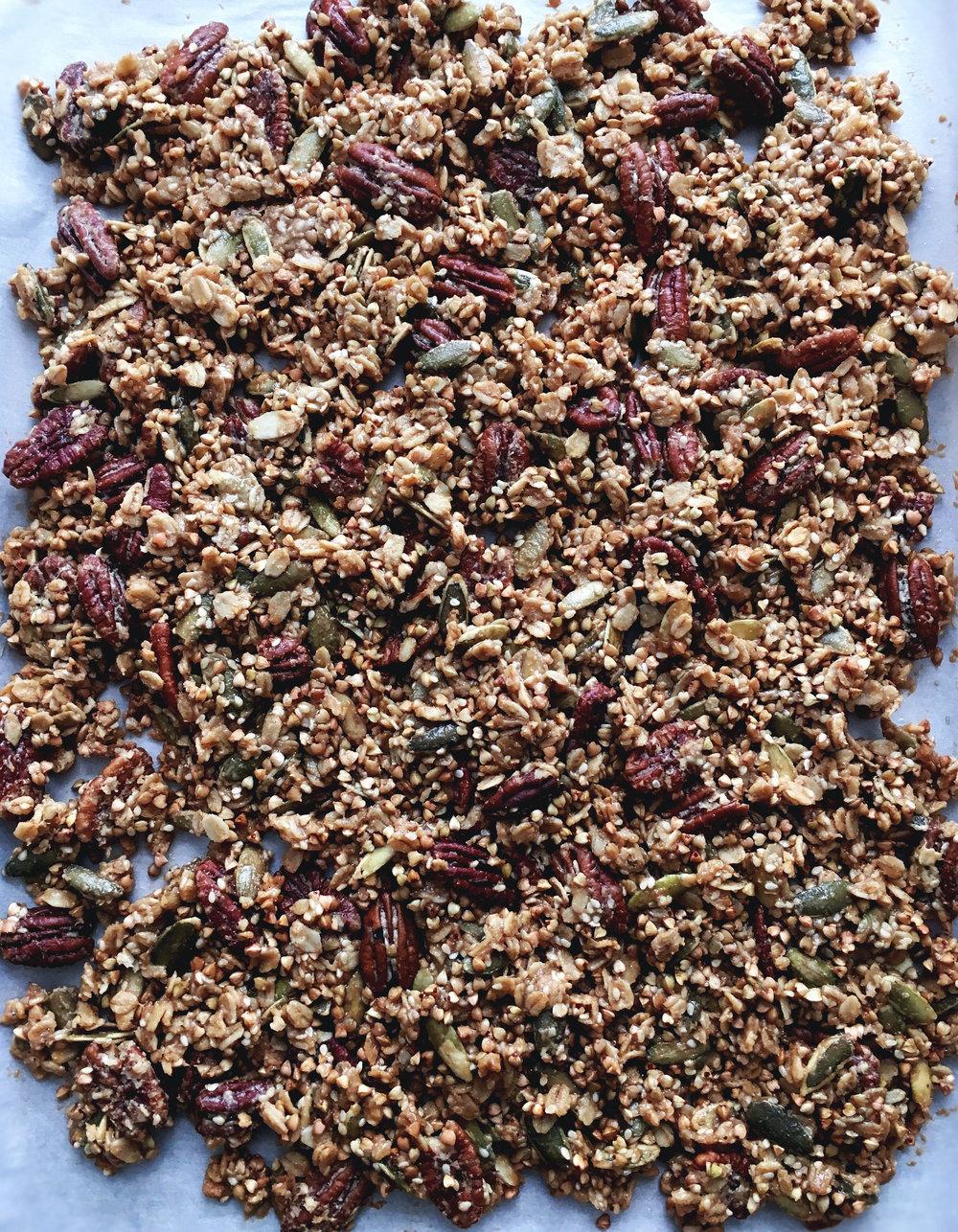 batch of vegan gluten free maple tahini granola