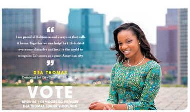 A mail piece for Dea Thomas for Baltimore City Council
