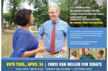 Mail piece for Chir Van Hollen for Senate.