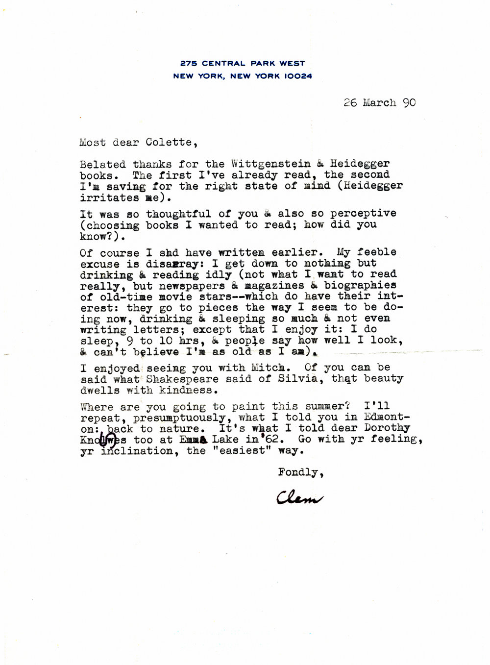 1990 Clement Greenberg letter