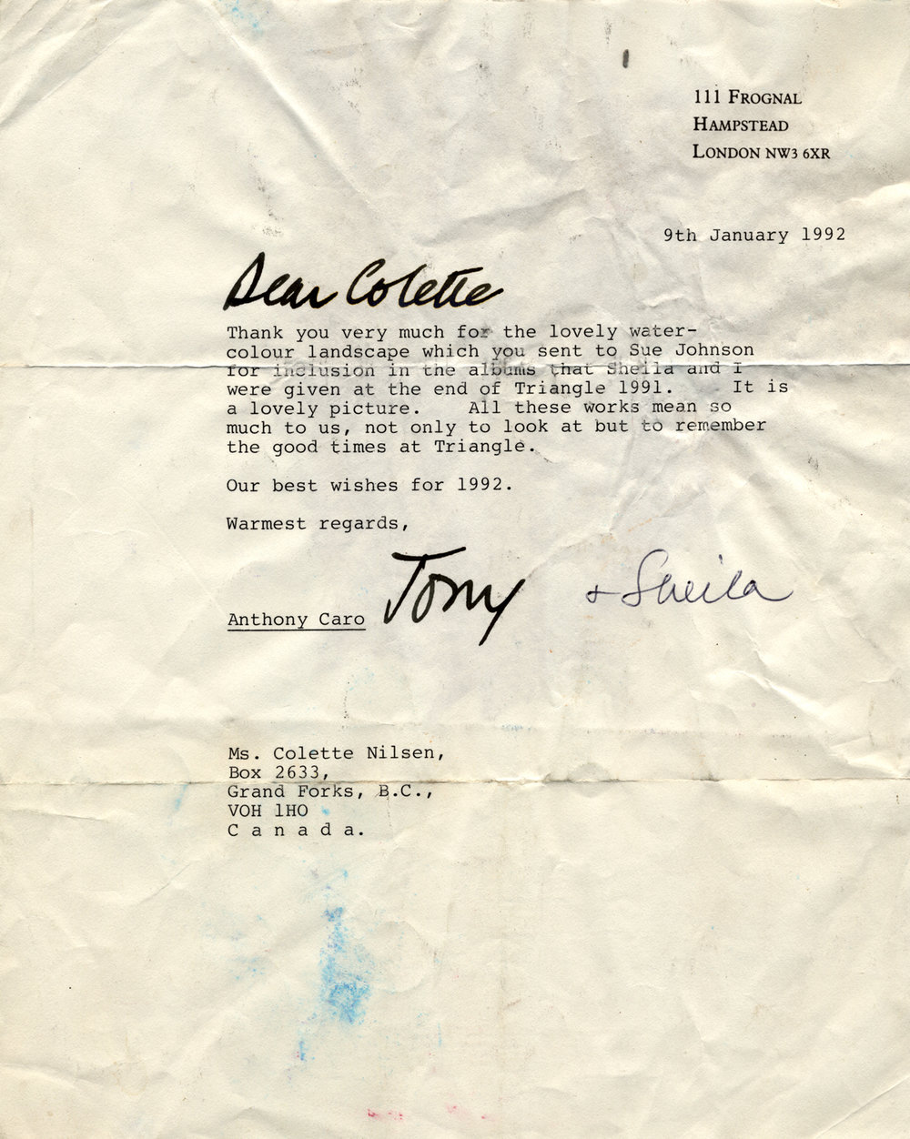 1992 Anthony Caro letter