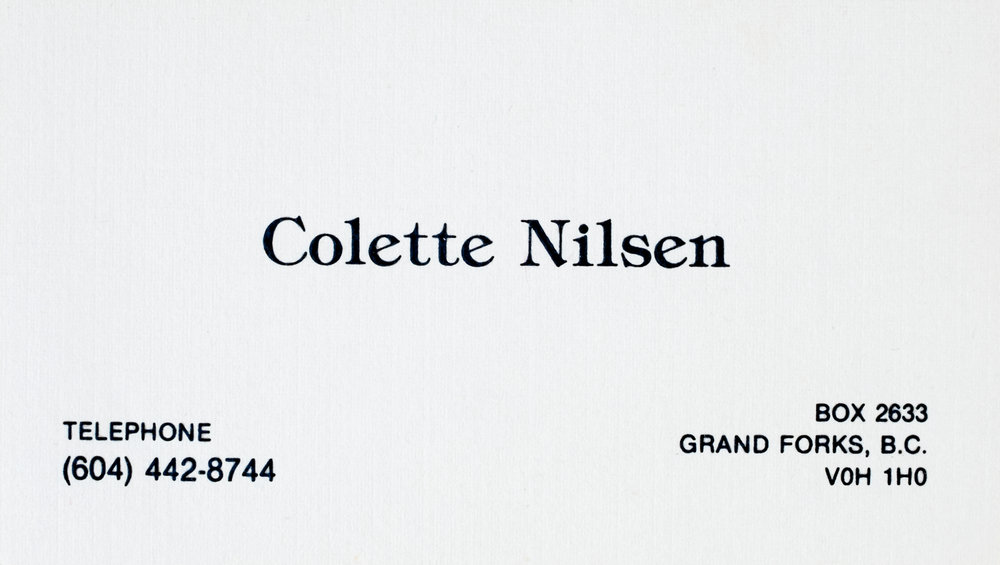 1990 Colette Nilsen business card