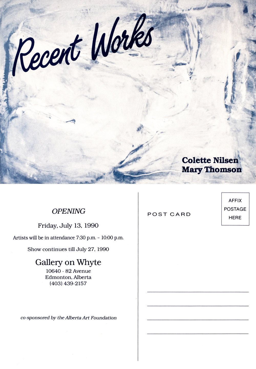 1990 Gallery Whyte invitation