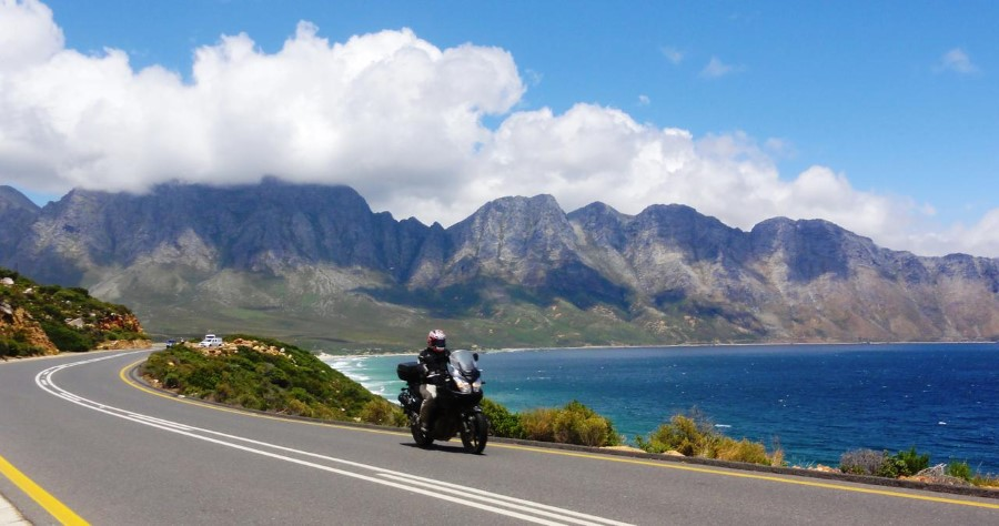 Biker riding on Clarens Drive between Pringle Bay and Gordons Bay