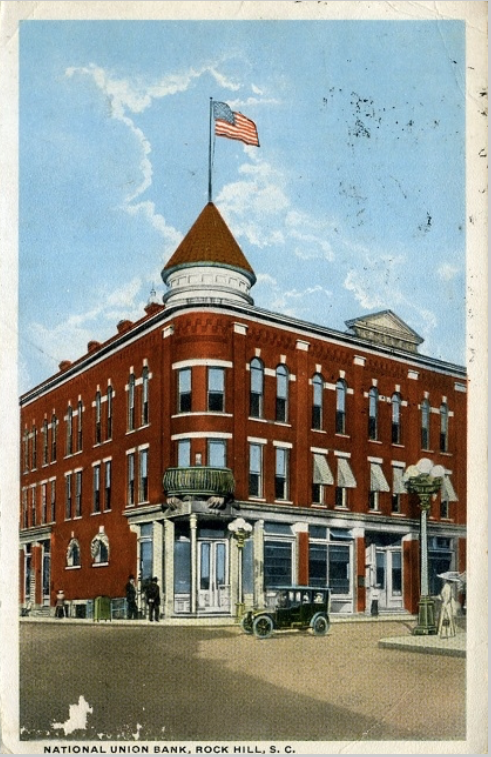 Postcard rendition of Union National Bank Building and the Equitable Assurance Company of Rock Hill, ca. 1910.