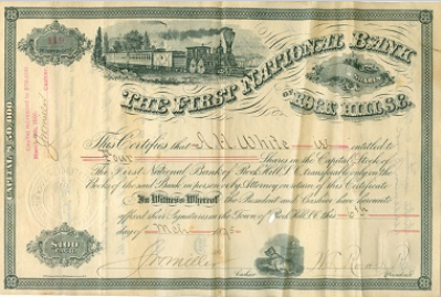 The First National Bank Stock Certificate – White Family Collection, Courtesy of HRH – 2015