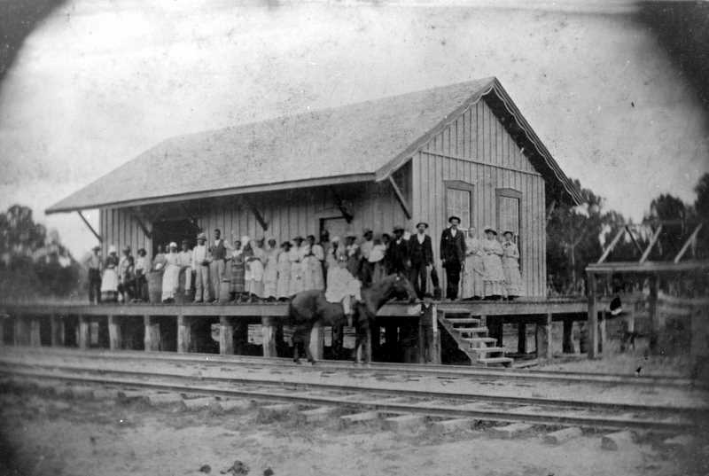 The original Rock Hill Depot with members of the Alexander T. Black family and his slaves pictured in the mid 1850's