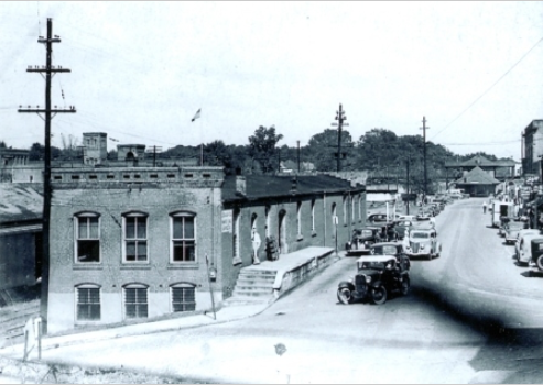 Looking down North Trade Street towards the last depot in Rock Hill.