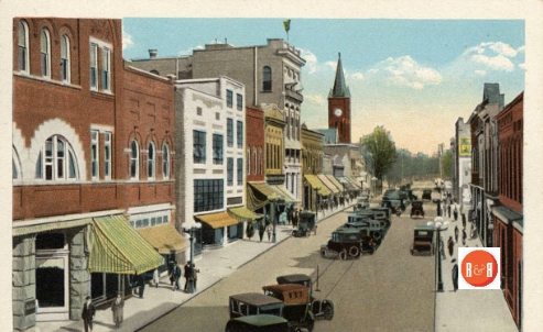 Early postcard view of East Main St., the Art's Council complex is pictured – center section. Courtesy of the Allen Postcard Collection.