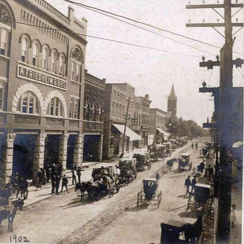 Downtown Rock Hill, S.C. showing the A. Friedheim and Bro. Store in 1902. Courtesy of the White Family Collection - 2008