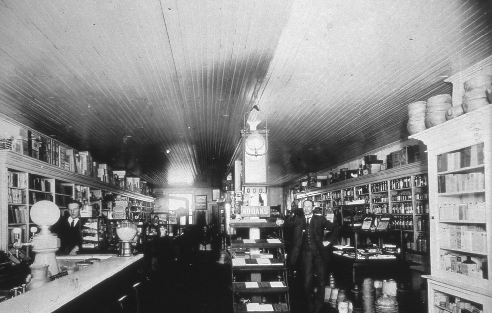 "W.B. Ardrey inside his drug store in 1912. The Fort Mill Times ran an article on Sept. 9, 1903, stating - ""Robert Boggus, the widely known and well respected shoe maker has opened a boot and shoe shop over Ardrey's drug store."""