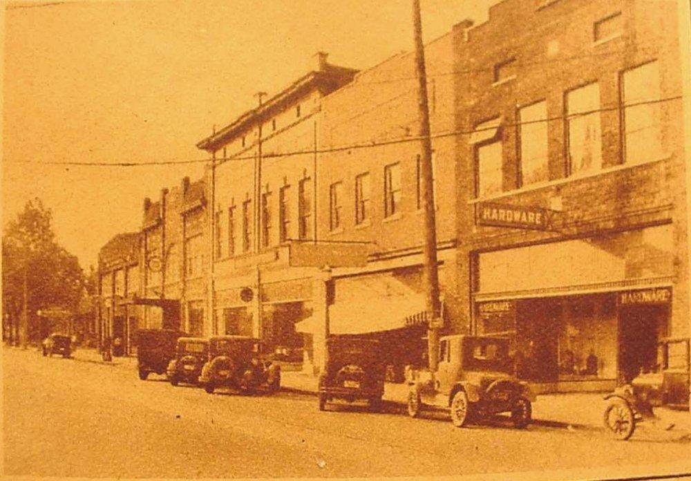 East Main Street in ca. 1920s, McFadden Motor Co., far left.