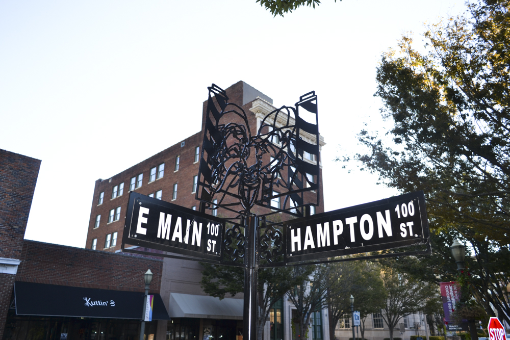 Corner of East Main and Hampton Street, former location of the Hampton Grill