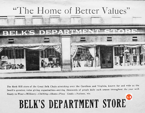 Ad for the Belk's Dept. Store in Rock Hill, S.C.