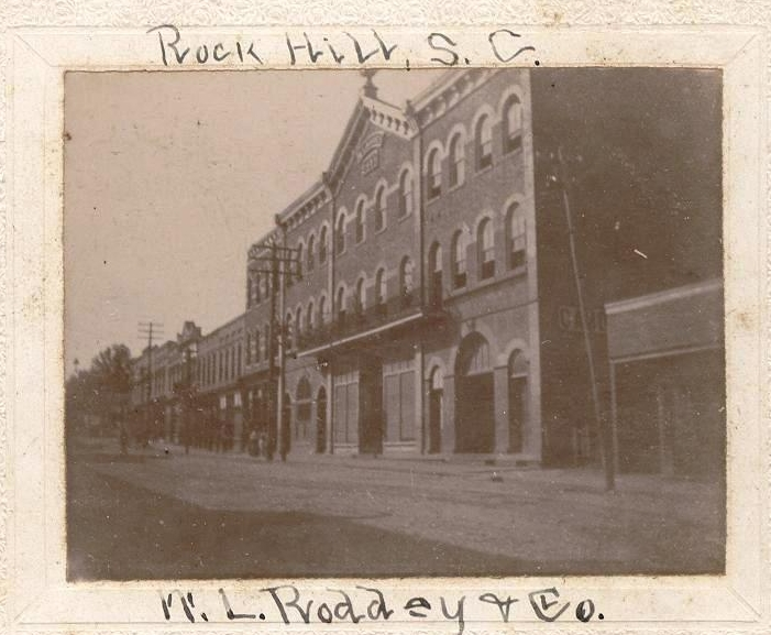 Late 19th century view of the Roddey's Mercantile Co and Hotel complex, prior to remodeling in the early 20th century.
