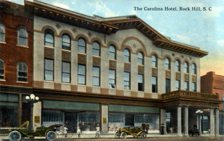 Early postcard view of the grand Carolina Hotel and Roddey's Store