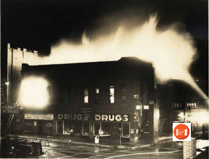 Ratterree's Drugstore burns in early 1950s.