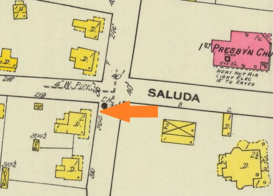 Location of the Academy shown on a 1916 Sanborn Insurance Map