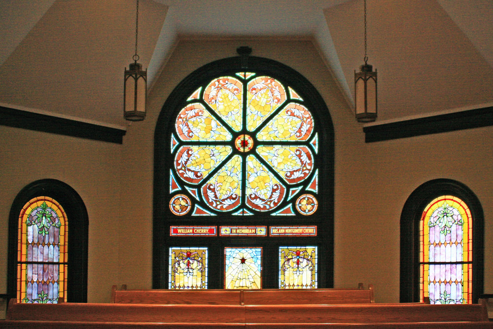 The beautiful stain glass windows of First ARP Chuch - Photographer Bill Segars, 2015