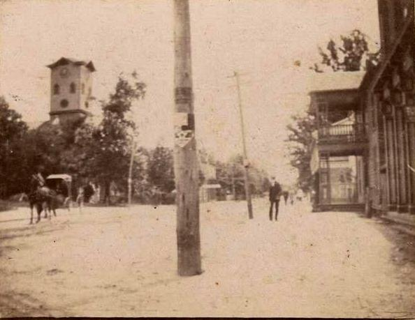 This rare view of early Rock Hill shows the historic Gordon Hotel - Fewell House on the right where both the Roddey - Crawford Building was constructed as well as Belk's Dept. Store next door.  Image courtesy of the WU Pettus Collection, ca. 1890.