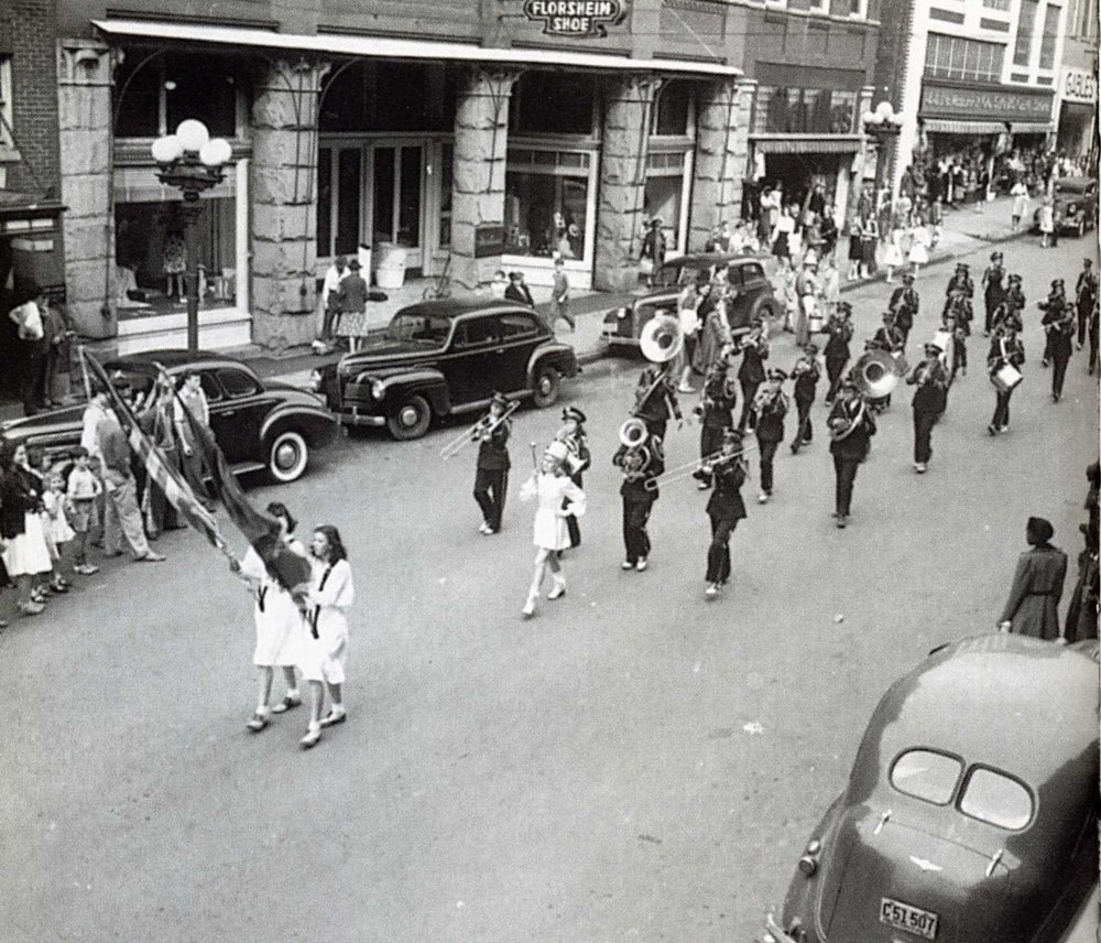 East Main Street showing a ca. 1940 parade, this image would have been taken from near where the York County Chamber Building currently stands.