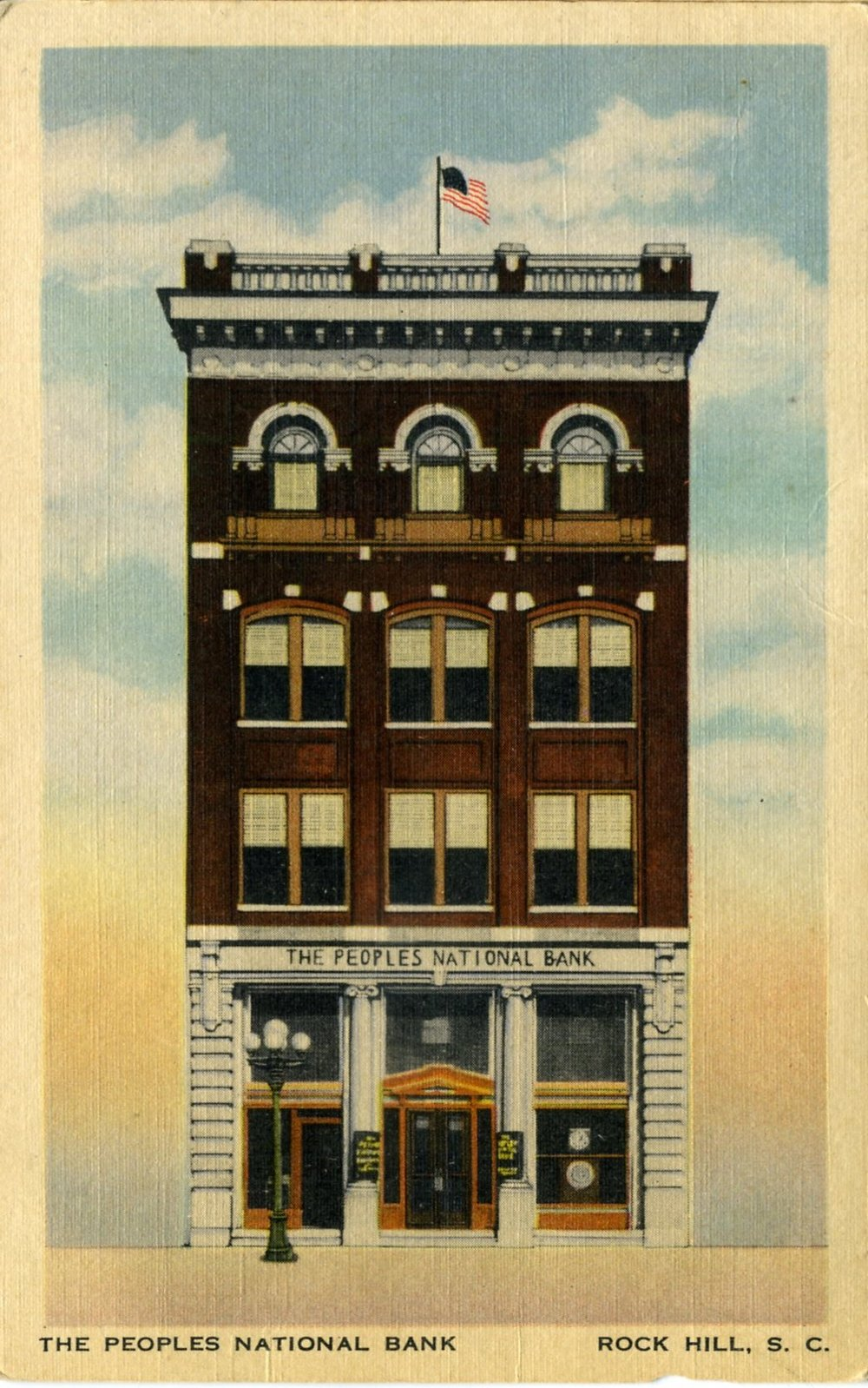 Early postcard view of the Peoples National Bank, ca. 1910