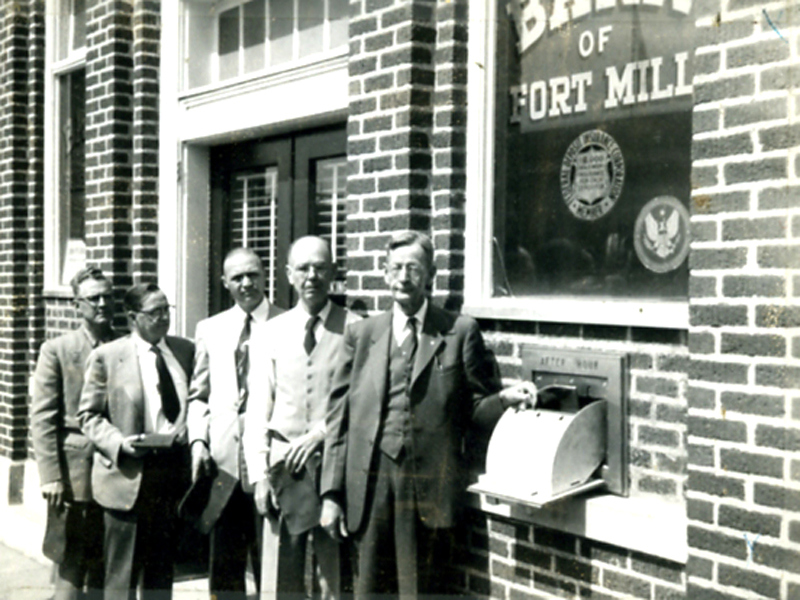 BOFM new night deposit box. From left to right are Dick Adkins, Smoke Rogers, Joe Brown, Dr. Bill Martin and E.R. Patterson
