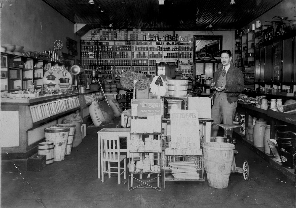"J.B. Mills inside his store.  The Fort Mill Times reported on Feb. 26, 1920 - ""J.B. Mills and Co., has received another shipment of Kentucky mules and horses."""