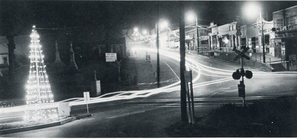 Main Street Christmas lights in 1961