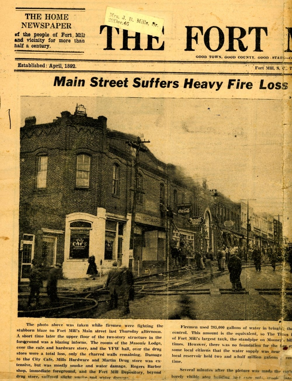 1940s fire on Main Street