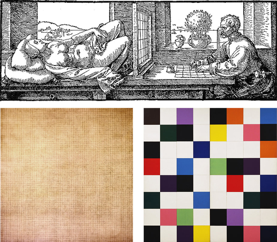 Figure 5 : Albrecht Dürer,  Draughtsman Making a Perspective Drawing of a Woman , 1525 (above). Agnes Martin,  Leaf , 1965 (below left). Ellsworth Kelly,  Colors for a Large Wall , 1961 (below right).