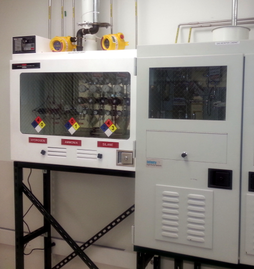A custom built valve manifold box and gas purification cabinet.