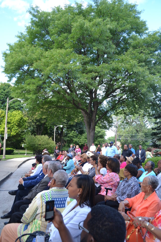 Audience members at the Avalon Park Bench Dedication Ceremony on August 26th, 2016