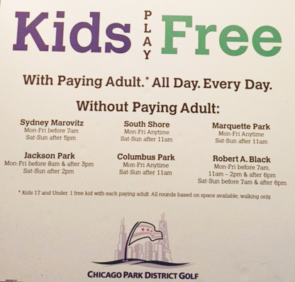 The Chicago Park District also offers free golf for kids with an adult