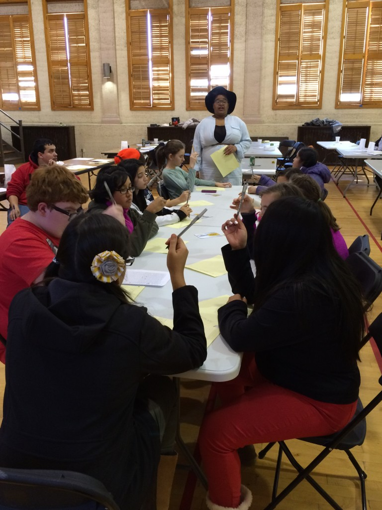 Black Rose teaching students at the McKinley Park MLK Day event