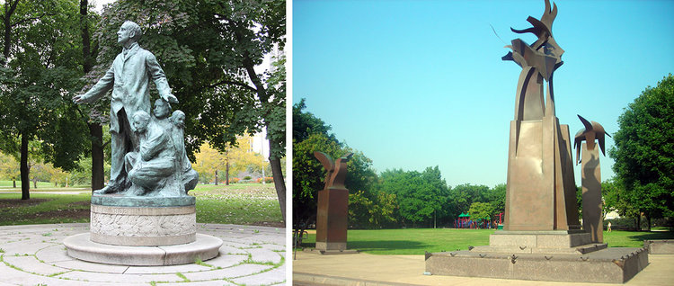 Left:  Altgeld Monument  in Lincoln Park. Photo by Julia Bachrach. Right:  Eagle Columns , monument to John Peter Altgeld in Jonquil Park. Photo by Julia Bachrach.