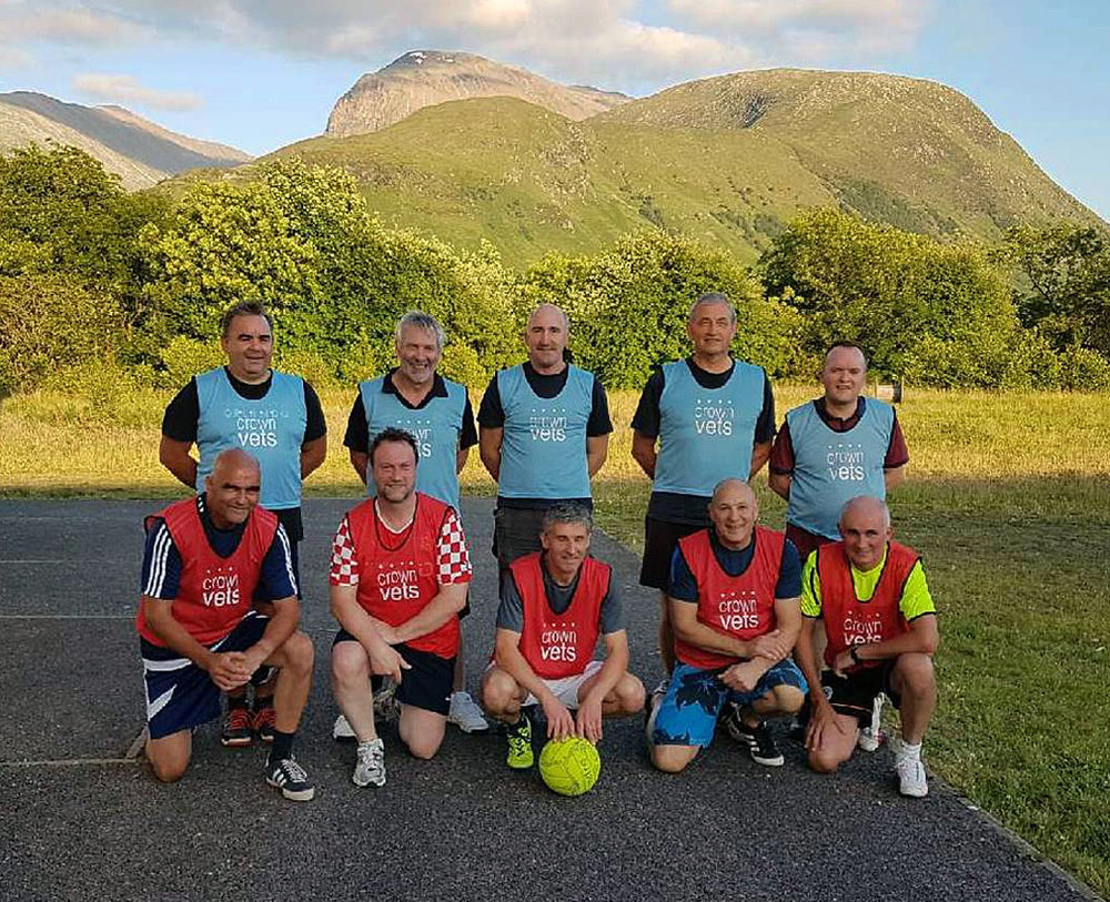 Ben Nevis watching over the Fort William Squad as they prepare for the Scottish walking football cup competition.