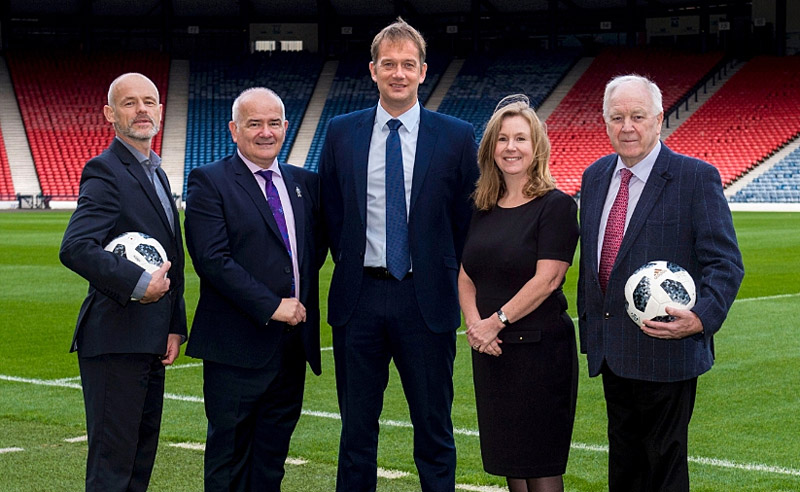 l-r Andy Gould, Scottish FA Head of Football Development, Gary McLaughlin, Chairman of Walking Football Scotland, Ian Maxwell, Chief Executive of the Scottish FA, Elaine Hindal, Drinkaware Chief Executive and Craig Brown CBE.