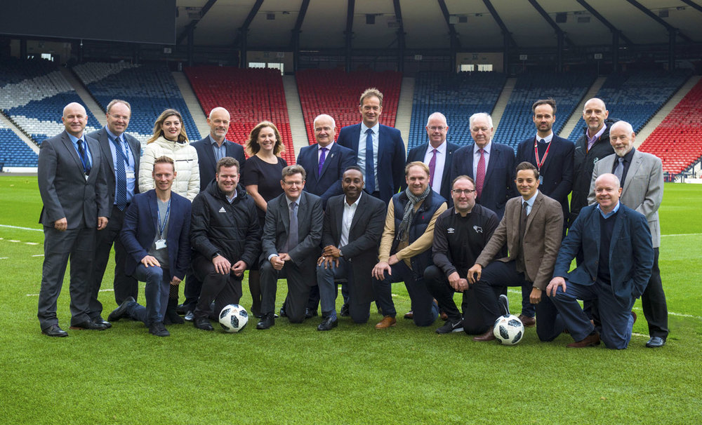 Drinkaware Ambassadors joined Ian Maxwell, Scottish FA Chief Exec., Craig Brown and others pitch side at Hampden park.