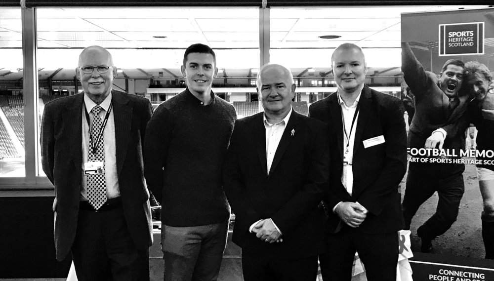 l-r Robert Craig, Chair of Football Memories Scotland and Scottish Football Museum, Matt Ramsay WFS, Gary McLaughlin WFS and Richard McBrearty, Football Memories Project Director.