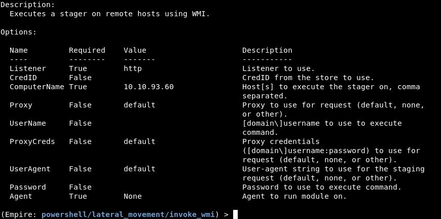 Options for the invoke_wmi module.