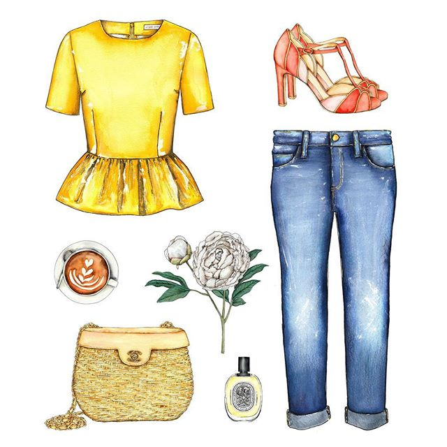 {feeling ready for spring to arrive} 🌼 #ylfagronvoldstudio #watercolor #illustration #stinegoya #sezane #chanel #dyptiqueperfume #acnestudios